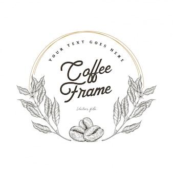 Árvore de café desenhada mão e quadro de feijão