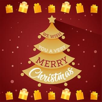 Árvore de cartão com feliz natal