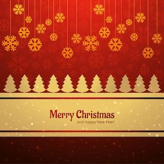 Árvore de cartão feliz natal com vetor de fundo floco de neve