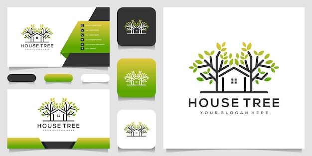 Árvore de casa abstrata com design de logotipo de arte de linha e cartão de visita