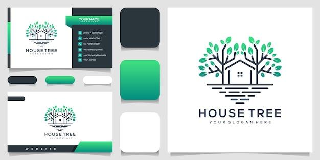 Árvore de casa com cartão de visita de design de logotipo de estilo de arte de linha
