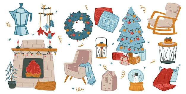 Árvore de celebração de feriados de natal e lareira