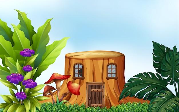 Árvore de coto com janelas e porta