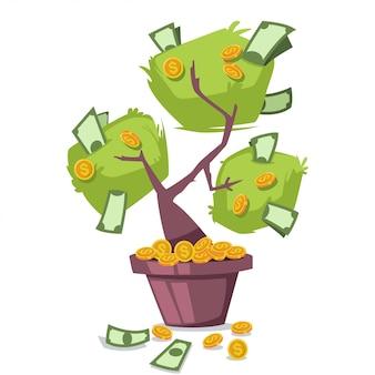 Árvore de dinheiro com dólares e moedas de ouro