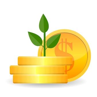 Árvore de dinheiro crescente com moedas de ouro nos galhos. riqueza do conceito e sucesso nos negócios. ilustração vetorial