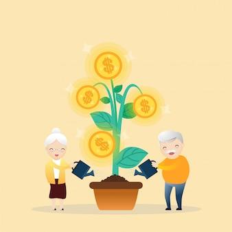 Árvore de dinheiro crescente.
