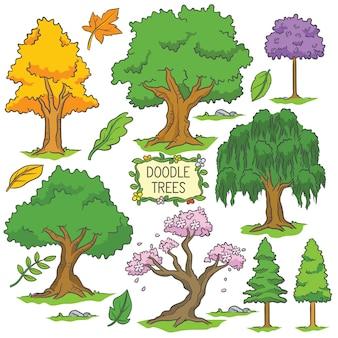 Árvore de doodle colorido mão desenhada