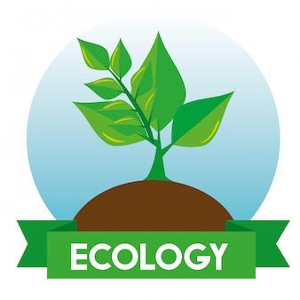 Árvore de ecologia no gorund com folhas e fita