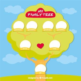 Árvore de família bonita com coração vermelho