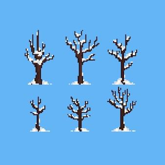 Árvore de inverno pixel com neve.
