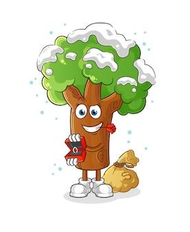Árvore de inverno propor e segurando o anel. mascote dos desenhos animados