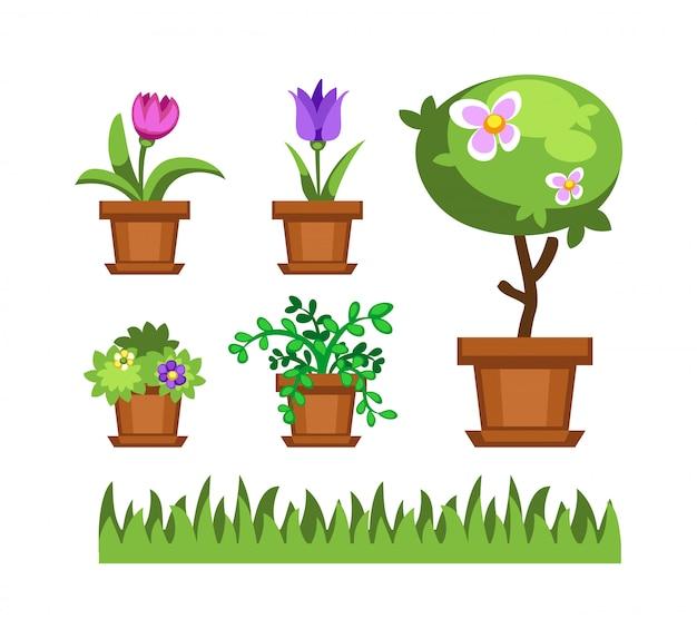Árvore de jardim e flores vector