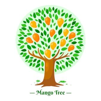 Árvore de manga em design plano