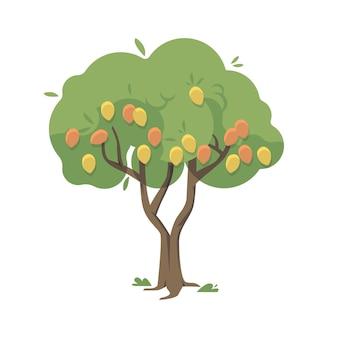 Árvore de manga plana com ilustração de frutas e folhas