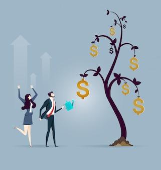 Árvore de moeda de dólar criativo empresário
