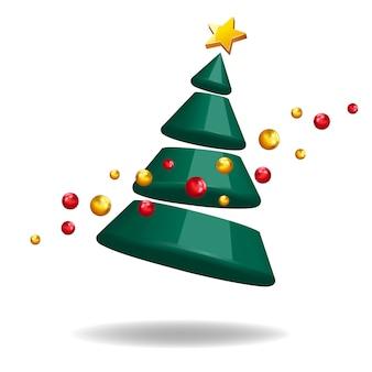 Árvore de natal 3d forma abstrata ilustração decorativa