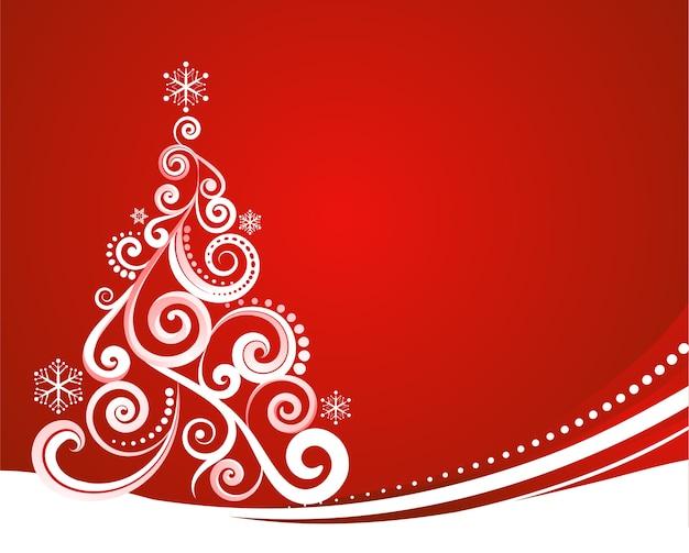 Árvore de natal abstrata com fundo vermelho para cartaz, banner ou cartão comemorativo