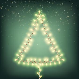 Árvore de natal abstrata de cartão de luzes.