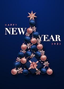 Árvore de natal abstrata luxuosa na forma de decorações de ano novo