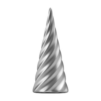 Árvore de natal abstrata realista de prata na forma de uma espiral. objeto de ilustração 3d para design de natal, maquete. isolado em um fundo branco.