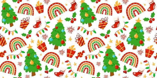 Árvore de natal, arco-íris moderno, guirlanda, meia, padrão festivo
