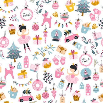 Árvore de natal, bailarina e padrão sem emenda de caixas de presentes. detalhes de férias estilo escandinavo infantil desenhado à mão. paleta rosa pastel limitada perfeita para impressão feminina.