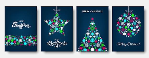 Árvore de natal, bola com padrão de férias azul, vermelho e branco de flocos de neve, elementos de natal e decorações. ilustração em vetor plana para cartão de felicitações, cartaz ou convite.