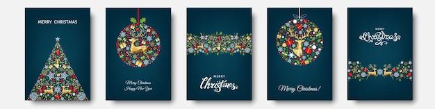 Árvore de natal, bola com padrão de férias ouro, vermelho e azul de flocos de neve, renas, elementos de natal e decorações. ilustração em vetor plana para cartão de felicitações, cartaz ou convite.