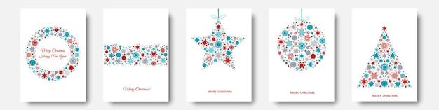 Árvore de natal, bola com padrão de férias vermelho, azul de flocos de neve, elementos de natal e decorações. ilustração em vetor ano novo plana para cartão de felicitações, convite.