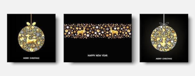 Árvore de natal, bola. padrão de ouro. decoração dourada e branca. feliz ano novo fundo preto. renas de natal, presentes, flocos de neve. molde do vetor para o cartão.