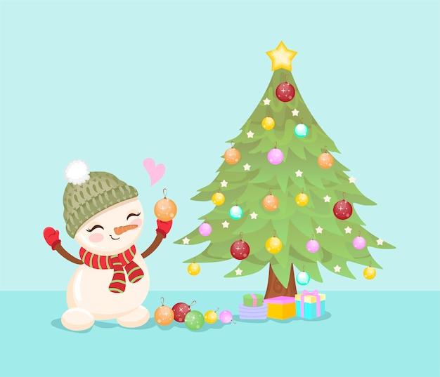 Árvore de natal, boneco de neve e presentes.