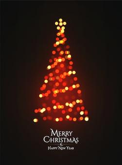 Árvore de natal brilhante festão bokeh silhueta em fundo escuro.