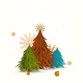 Árvore de natal colorida com flocos de neve dourados e enfeites em fundo branco.
