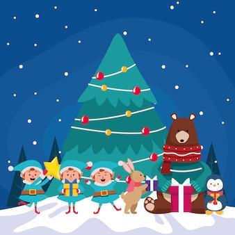 Árvore de natal com animais fofos e ajudantes de papai noel durante a noite de inverno, colorida, ilustração