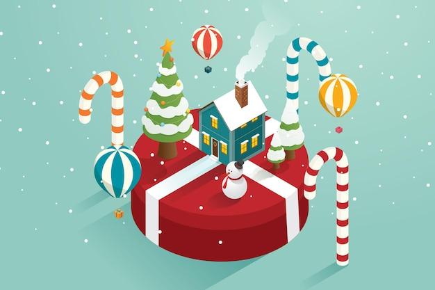 Árvore de natal com balões de ar do boneco de neve voando presente e casa em caixas de presente grandes
