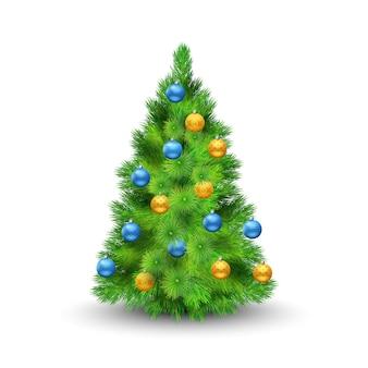 Árvore de natal com bolas de decoração isolado na ilustração vetorial de fundo branco