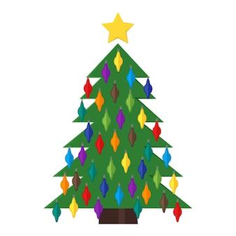 Árvore de natal com bolas de natal e uma estrela no topo. ilustração vetorial.