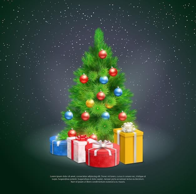Árvore de natal com caixas de presente