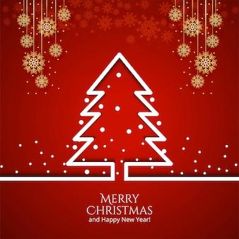 Árvore de natal com cartão de decorações