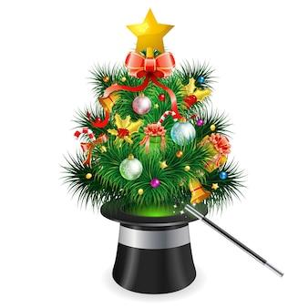 Árvore de natal com chapéu mágico