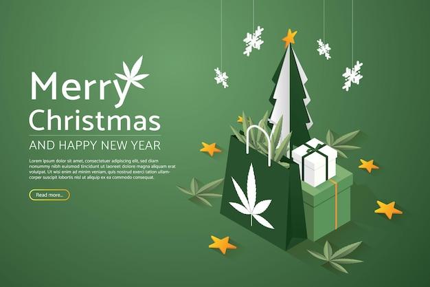 Árvore de natal com conjunto de caixas de presente grande e saco de papel de maconha feliz natal e feliz ano novo