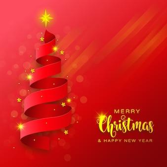 Árvore de natal com corte de papel dourado vermelho artesanal