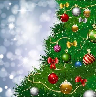 Árvore de natal com decoração com luzes bokeh