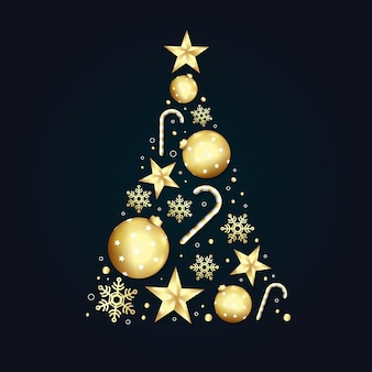 Árvore de natal com decoração dourada realista