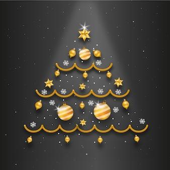 Árvore de natal com decoração realista
