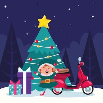 Árvore de natal com elfo, moto e presente bxoxes ao redor durante a noite de inverno, colorida, ilustração