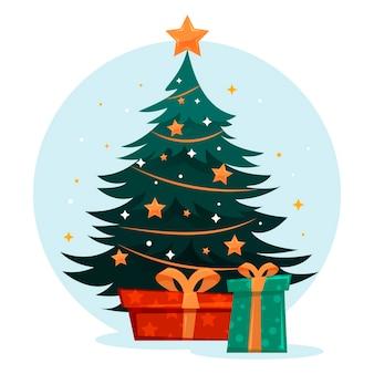 Árvore de natal com enfeites e caixas de presente. feriado.