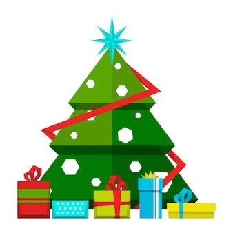 Árvore de natal com enfeites e presentes diferentes. ilustrações estilizadas. árvore de natal e presente de natal e ano novo
