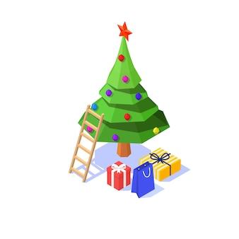 Árvore de natal com enfeites, pacotes de presente e uma escada em um fundo branco. isométrico