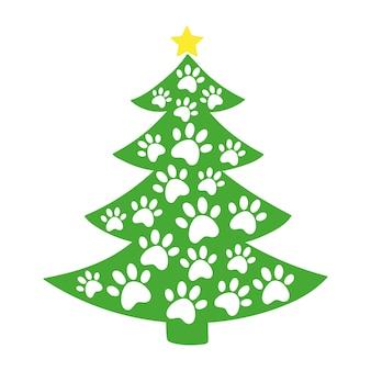 Árvore de natal com estampas de patas de cães e gatos feliz natal estampas de patas cão amor cães